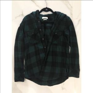 TNA Tops - TNA Green/Black Plaid Button-Up with Hood Size: XS